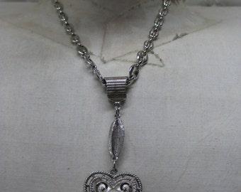 Heart Pearl Silver Necklace Vintage Pendant Avon