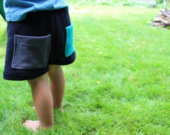 Children's Merino Wool Shorts with Pockets - Sizes 1T to Kid's 8 - Custom Made to Order BLACKBIRDS