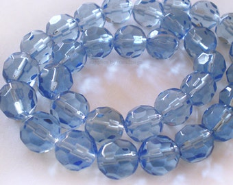 30pcs Full Strand - 10mm Faceted  Blue Glass beads