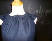 Ruffle Pillowcase DRESS or TOP - Denim - Made in ANY Size - Boutique Mia
