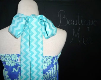 Halter Pillowcase DRESS or TOP - Amy Butler with Lace Detail - Made in ANY Size - Boutique Mia