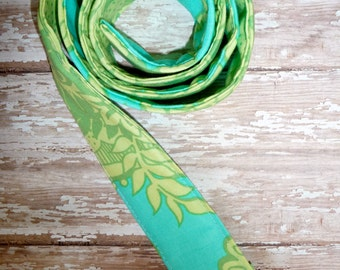 PERFECT GIFT - Fabric Belt - D Ring - Amy Butler - Aqua and Lime - Made in ANY Size - Boutique Mia