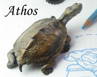 One bronze turtle bottle opening sculpture, 'Athos'