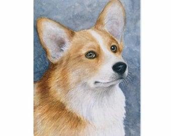 Fridge Magnet Print ACEO from my original painting Dog 89 Corgi by Lucie Dumas