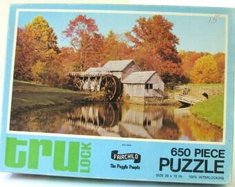 """Complete Vintage Puzzle, """"Mill Pond"""" 650 Piece Fairchild Puzzle, No. 1549"""