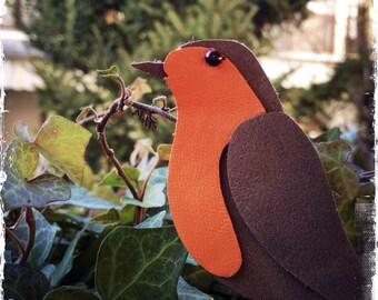 Robin - Handmade Leather Bird Brooch - One of a Kind