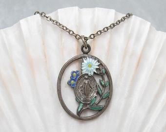 Vintage Religious Medal Sterling Enamel Floral Catholic Mary N5715