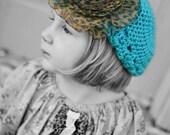 Girl's Crochet Hat, Beret, Boho, Bohemian, Turquoise hat, Slouch hat, toddler hat, Leopard, Spring, Easter, Sizes Newborn through Adult