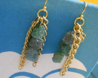 Rumble earrings - green apatite, gold tone vintage chain