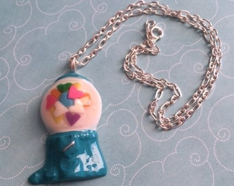 Teal Blue Hearts Gumball Machine Resin Necklace