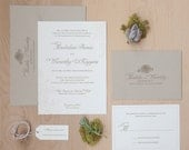Rustic Wedding Invitation, Garden Wedding Invitation, Garden Chic, Floral invitation with twine and tag SAMLPE