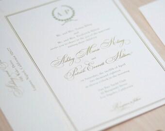 Monogram Wedding Invitation, sage and gold invitation, olive branch monogram, traditional invitation, elegant invitation DEPOSIT