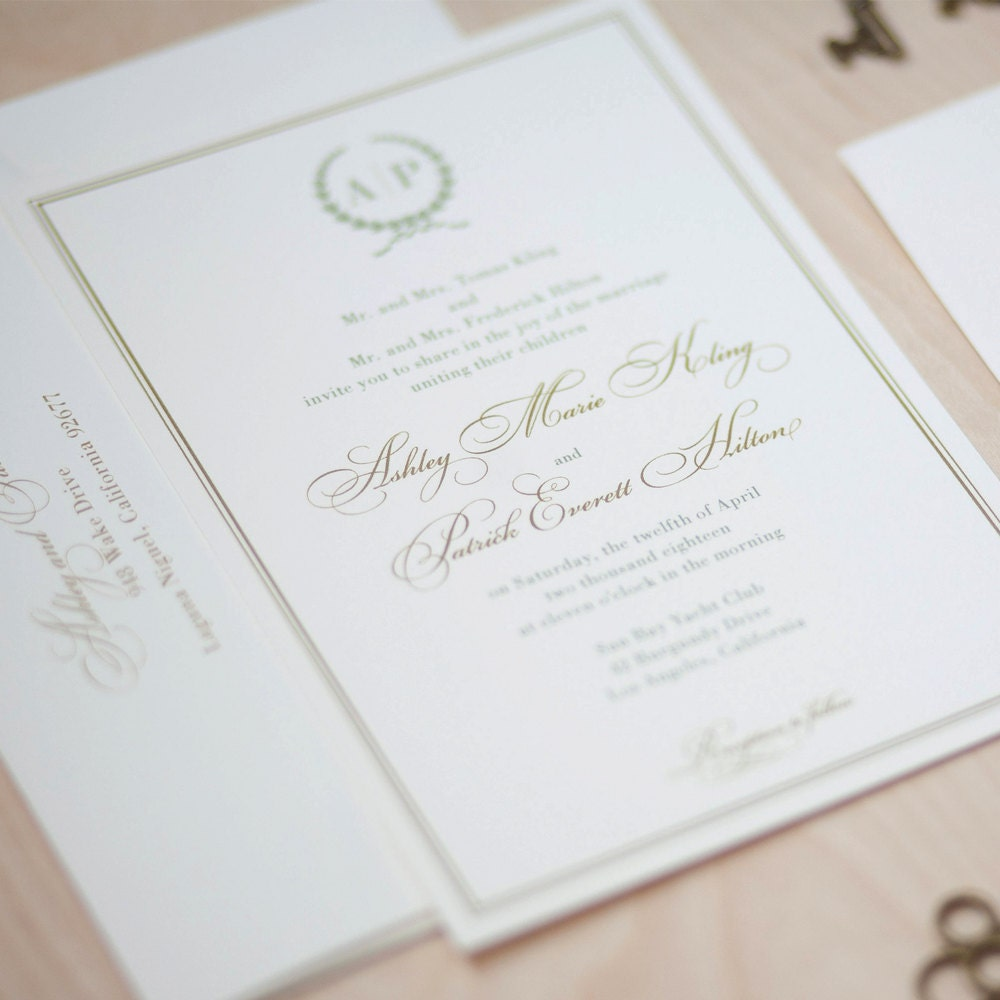 Monogram Wedding Invitation sage and gold invitation olive