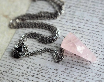 Rose Quartz Pendulum Necklace  Lariat Style  Faceted Pink Gemstone  Gunmetal Silver  Adjustable  Boho Bohemian  Rustic  Gift Box