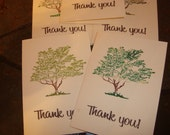 Lush Green Tree Thank You Note  Cards Hand Stamped  Set of Six  Copper Envelopes Included