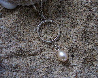 Sterling Silver Pearl Pendant, Pearl Necklace