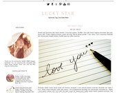 Responsive Premade Blogger Template - LUCKY STAR - Pinterest Hover Pin-It Button - Minimalistic - Graphic Design - Blog Template