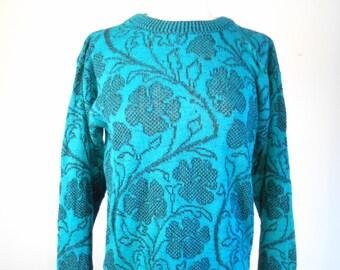 Women's Vintage 80s JAMENITS Lucky SHAMROCK Sweater Fits SZ M