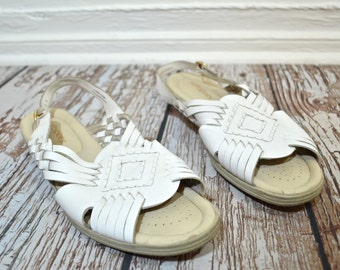 Vintage White Sandals Size 10 - Woven Leather Sandals - Southwestern Tribal Sandals