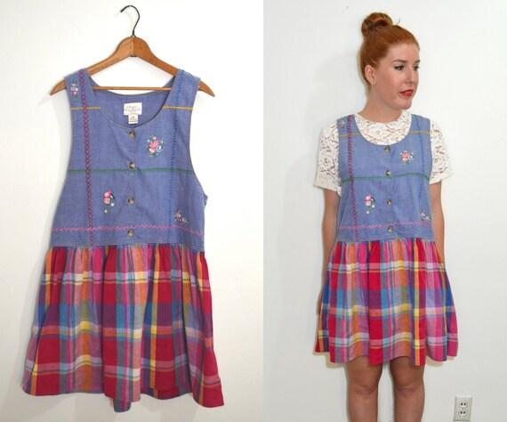 Blue Plaid Dress Plaid Jumper Dress Blue
