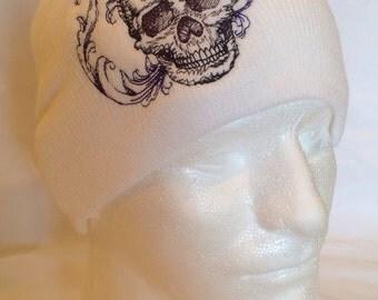 Black Skull on White Beanie Skullcap Hat