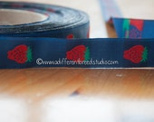 3 yards Vintage Ribbon -  Cheerful Berries on Navy New Old Stock