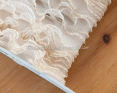 Metallic Edge Pleated Ruffle  - 5 yards Vintage Fabric Scalloped Trim New Old Stock Ivory Gold Doll Clothes (Reserved)