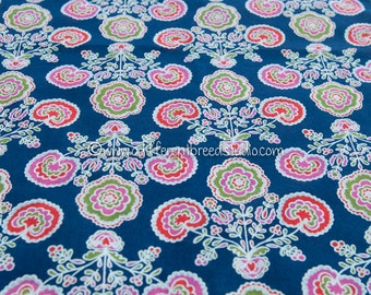 Colorful Folk Art Flowers- Vintage Fabric 60s Cottage Atomic New Old Stock Tulips Daisies Hearts