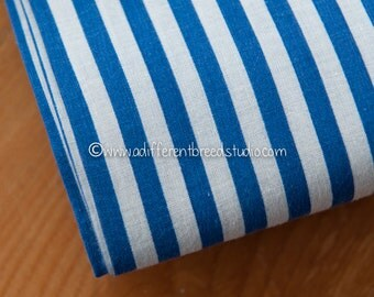 Colorful Royal Blue and White Stripe - Vintage Fabric 50s 35 in wide New Old Stock Cabana Nautical