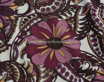 Paisley and Floral  - Vintage Apparel Fabric 60s 70s New Old Stock Groovy Graphic