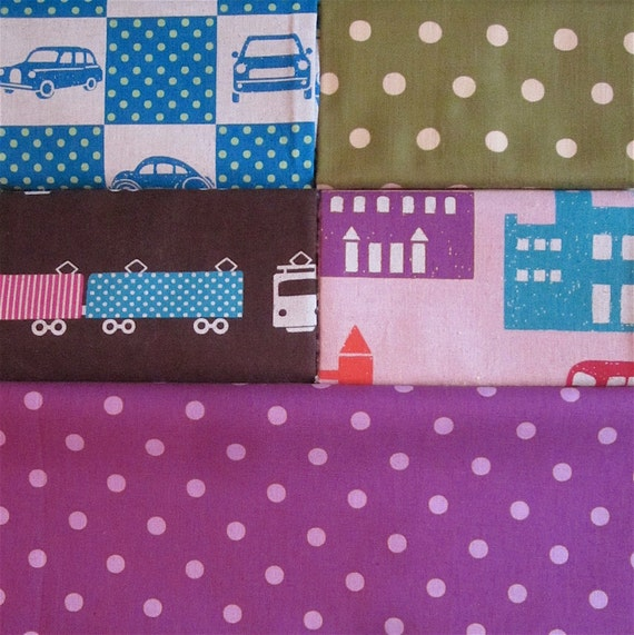 Echino decorator prints - five fat quarters RESERVED for LTrevisan