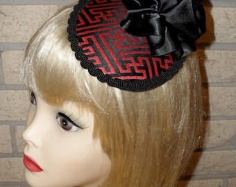 Ready To Ship Black and Red Tapestry Cocktail Hat by Taissa Lada, Circular Hat, Pancake Hat, Church Hat,Rockabilly Hat,Gothic,Old Hollywood