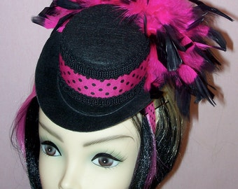 Custom Made Black and Hot Pink Mini Feather Top Hat ,Black Top Hat Polk A Dot Pink and Black Ribbon,Black and Hot Pink Feathers,Drag Queen