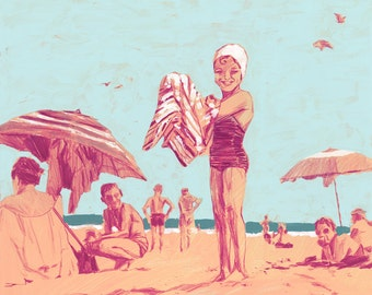 "Beach - Fine Art Print by Jonny Ruzzo - 13"" x 13"""
