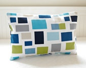 blocks lumbar cushion cover teal blue, lime green, grey, navy , 12 x 16 inch decorative throw pillow cover