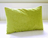 lime green cushion cover, lime green lumbar accent pillow cover velvet chenille 12 x 16 / 18 / 20