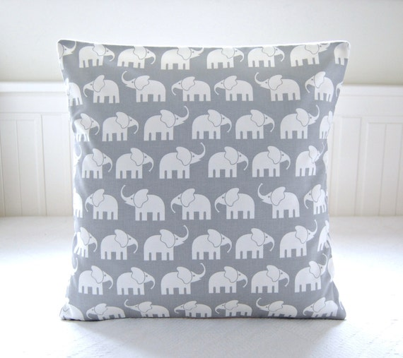 Small Gray Decorative Pillow : Items similar to white elephants gray decorative pillow cover, grey cushion cover 16 x 16 inch ...