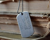 Mens Personalized Dog Tag Necklace Sterling Silver - Large size