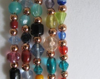 Copper and Glass Bead Necklace 31 inches RKMixables Copper Collection RKM435