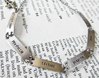 Medical Alert Anklet Or Bracelet - Aluminum Stamped Links With Up To Six Linked Rectangles And Charm