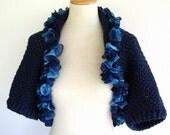Crochet Shrug Bolero Evening Prom Wrap Denim Blue Shades of Blue with Ruffle Ribbon Edge