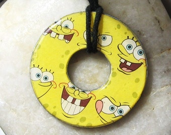 Silly SPONGEBOB SQUAREPANTS Faces Collage Upcycled Papers Washer Hardware Pendant Necklace