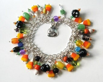 Charming and Sweet Candy Corn Hand Sculpted Clay Charm Bracelet Halloween Harvest