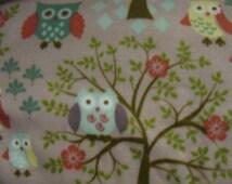 Perched Owls Winter Fleece Scarf Tree Limb Leaves