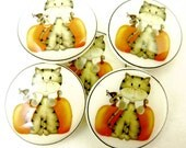 "6 Fall, Halloween or Thanksgiving Cat Buttons. Handmade Buttons.  3/4"" or 20 mm Sewing Buttons."