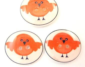 """3 Bird Buttons. Orange  3/4"""" or 20 mm.Bird Handmade Buttons.  Sewing buttons."""