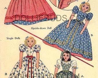 "Vintage 1942 15"" Stuffed Upside Down Lady Doll or Single Legged Doll Pattern 1014"