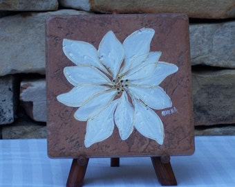 Hand Painted Tile Trivet with White Poinsettia