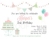 Digital birthday invitation second birthday