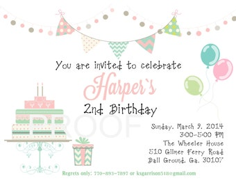 Digital birthday invitation second birthday